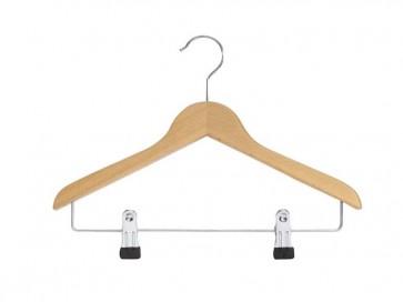 platte hanger blank beukenhout lengte 25 cm dikte 10 mm knijpers op 4 cm hoogte