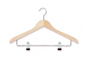 gevormde hanger blank beukenhout 41 cm met knijperstang