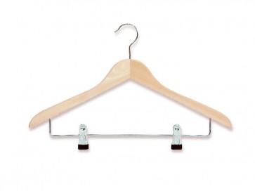 gevormde hanger blank beukenhout 44 cm met knijperstang