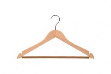 gevormde hanger blank beukenhout 44 cm met antislip broeklat en inkepingen