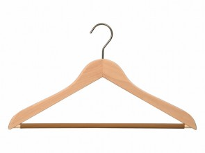 gevormde hanger blank beukenhout antislip broeklat lengte 44 cm dikte 13 mm