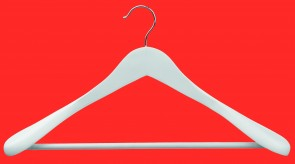 Wit gelakt lotushout lengte 44,5 cm dikte 16 mm schouders 50 mm breed met antislip broeklat